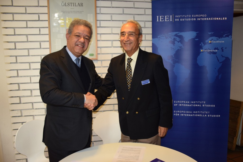 Dr. Leonel Fernández Reyna, President of the Funglode, (Global Foundation for Democracy and Development) and Amb. Antonio Núñez y García-Saúco, President of the European Institute of International Studies, they signed a Cooperation Agreement for to promove the relations beetween Europe and Latin American and Caribbean countries. The agreement was signed in Stockholm, 7 October 2016.